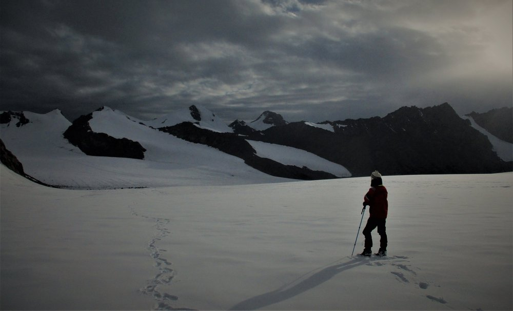 Ben on Facile Glacier - looking at Ben Jai Ma 5875m ,the day before the first ascent, July2018