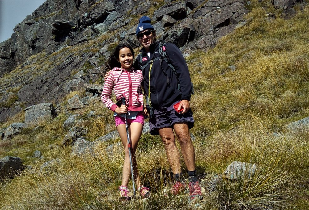 With Isabelle on Iron Hill in the Kahurangi National Park.