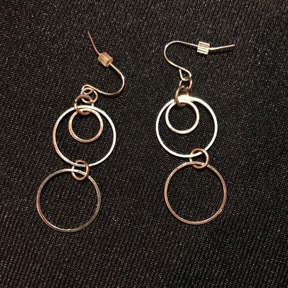 Silver Earrings with Multiple Circles