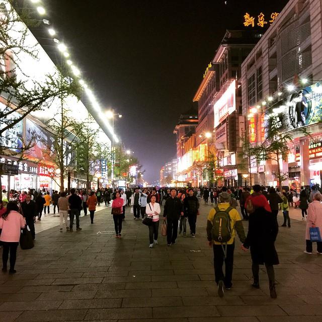 Took the bullet train (300+ km/hr) to Beijing for a weekend. Exploring the shops on Wangfujing Road! #purdueinchina