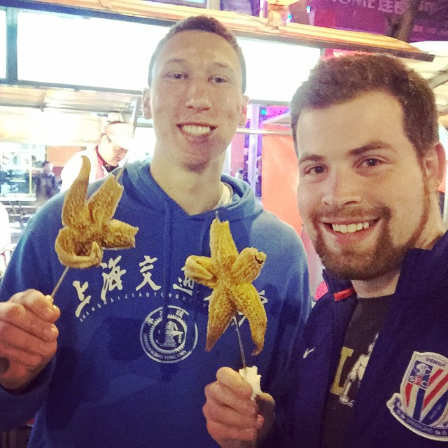 Trying out starfish at the Beijing night market. #purdueinchina