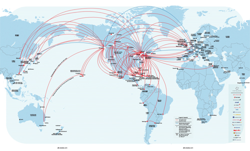 Air Canada flight route map