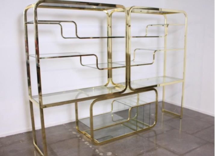 milo baughman double cantilevered brass etagere