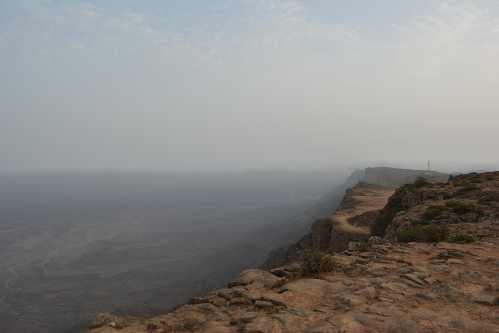 When the Khareef fog lifts you can see the ocean near the horizon.