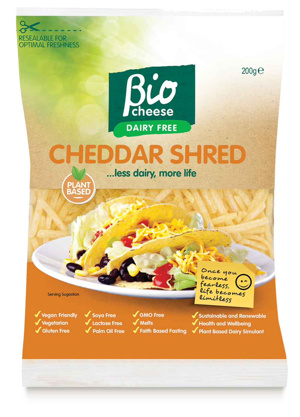 bio cheese cheddar shred vegan cheese