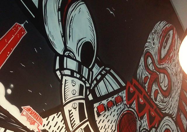 Arte do Nuno nas paredes do Rock and Honda (Unidade Tiradentes - Maringá PR)