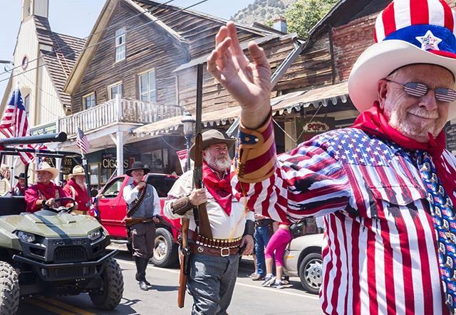 4th of July in Nevada is a lot of flag shirts, ATV'S, trucks, candy and guns. Every shot fired into the air is accompanied by a friendly wave . . . #nevada #americana #america #americanflag #wave #gun #rifle #musket #unclesam #starsandstripes #fourthofjuly #4thofjuly #nv #photography #digitalphotography #fujifilm #fujixpro2 #xpro2 #colorphoto #colorphotography #colorful #redwhiteandblue #smileandwave #smalltown #desertlife #atv #flagshirt #documentaryphotography