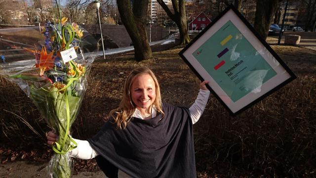 En glad vinner i Oslo-solen.