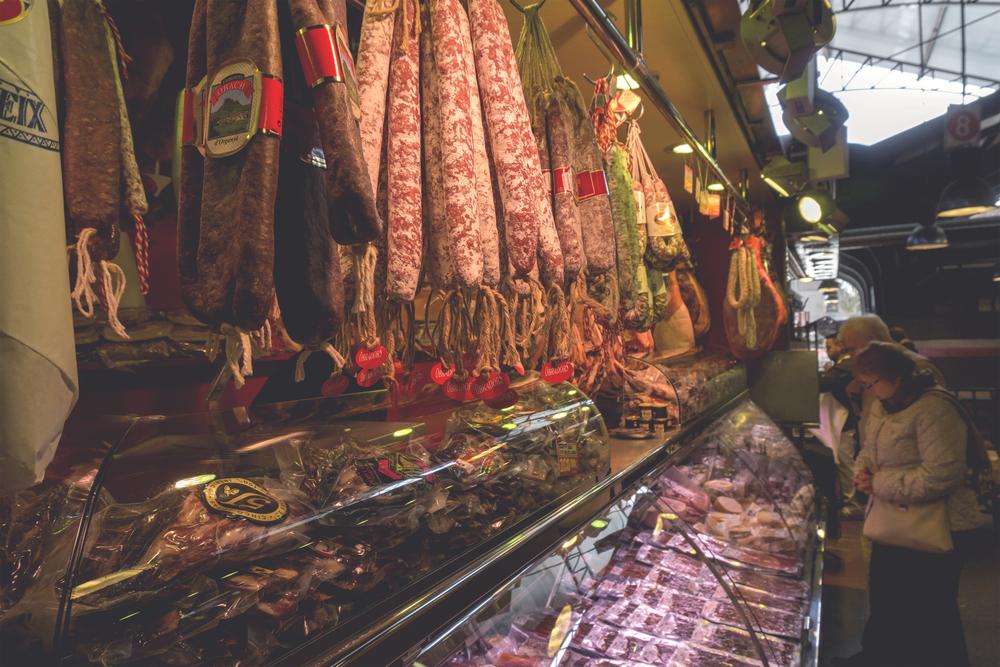Cured Meats in Placa de la Boqueria, Barcelona, Spain