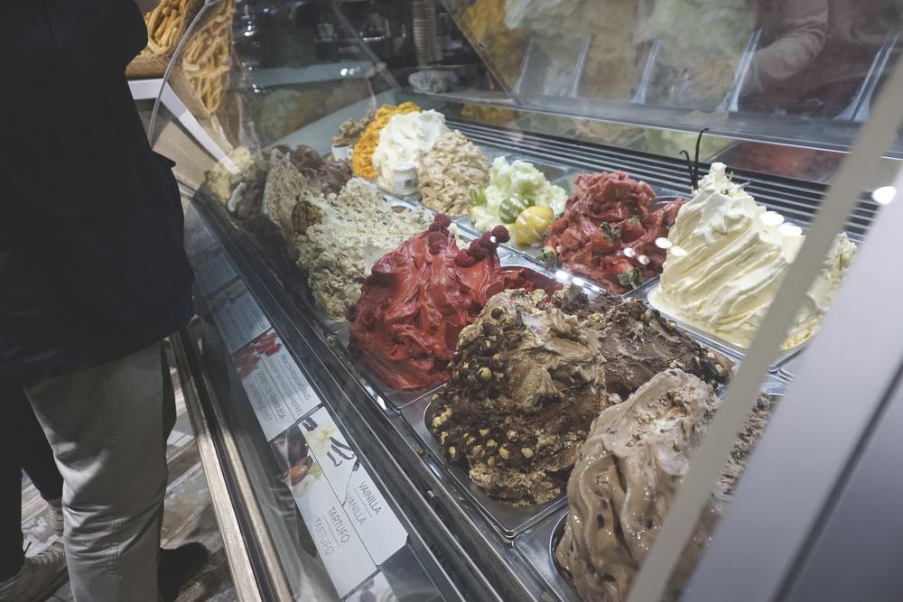 Gaudi inspired gelato piles, gelato shop, Passeig del Born, Barcelona, Spain