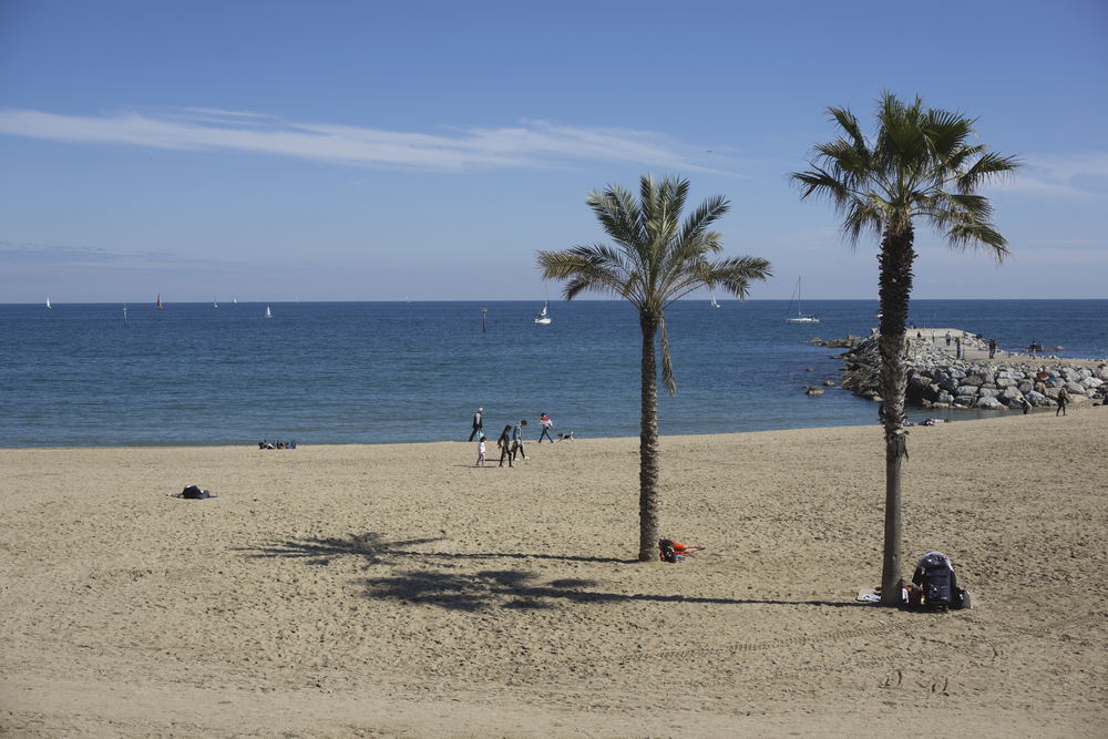 Lunch time view, Beach, Barcelona, Spain