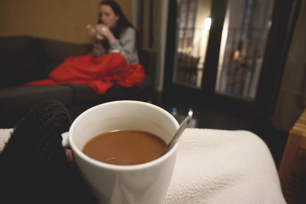 Hot coco and blanket siesta, El Born, Barcelona, Spain