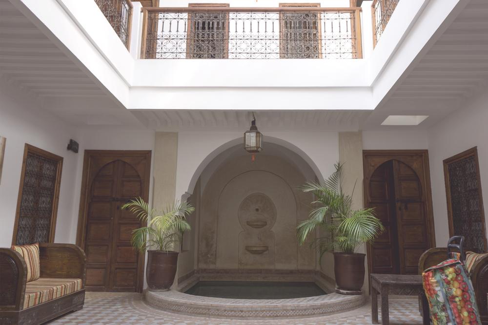 Interior courtyard, Riad 107, the Medina of Marrakech, Morocco