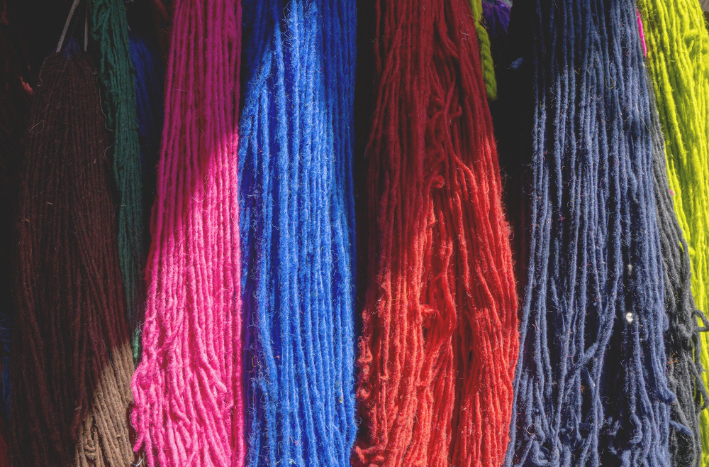 Dyed wool, souks ,  the Medina of Marrakech, Morocco