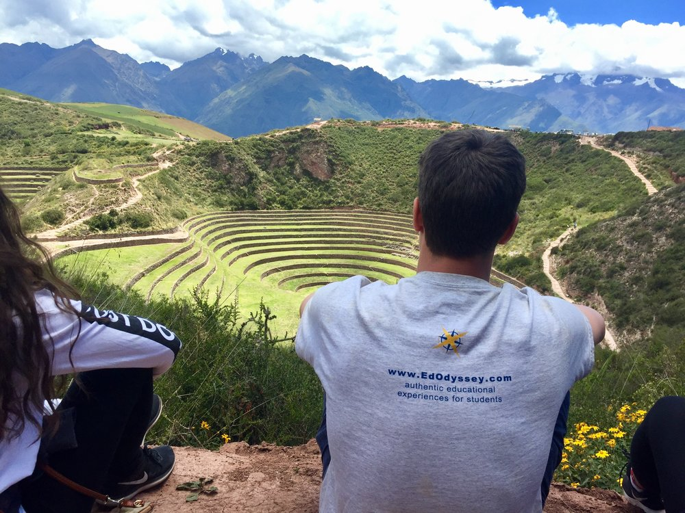 Taking a moment to reflect at Moray, the site of mysterious ancient ruins in Cusco's Sacred Valley.