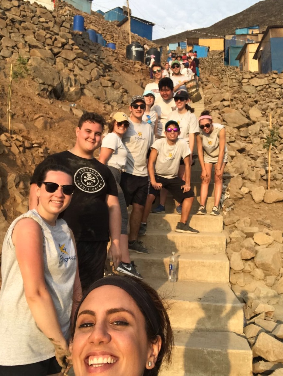 A day of service in Pamplona Alta, constructing much needed stairs to help families carry supplies to their homes.