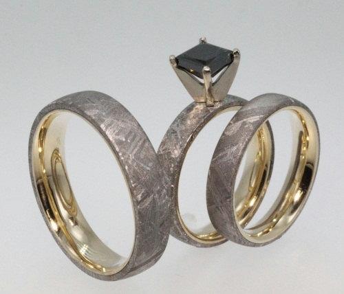 Meteorite Engagement Ring and Wedding Set 14KY Wedding Band Set