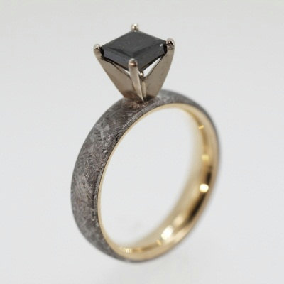 wedding ring rings meteor new rose meteorite gold of mens