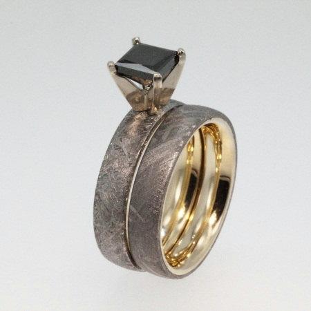 meteorite engagement ring and wedding set 14ky wedding band set with princess cut black diamond - Meteorite Wedding Rings