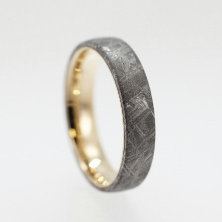 meteorite engagement ring and wedding set 14ky wedding band set with princess cut black diamond - Meteorite Wedding Ring