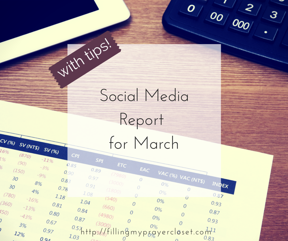 Social Media Report with Tips for March with a free downloadable spreadsheet to track your social media progress including the social media tips and tricks I used within the month by @fillpraycloset