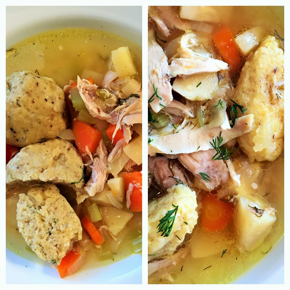 Soup with Matzo Balls, or Cream of Wheat Dumplings