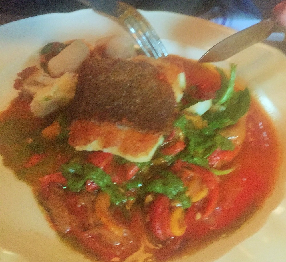 Blurry pic of Atlantic Cod, roasted peppers, chorizo, basil