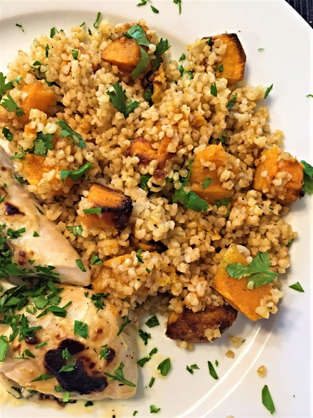 Bulgur with Cumin Sweet Potatoes