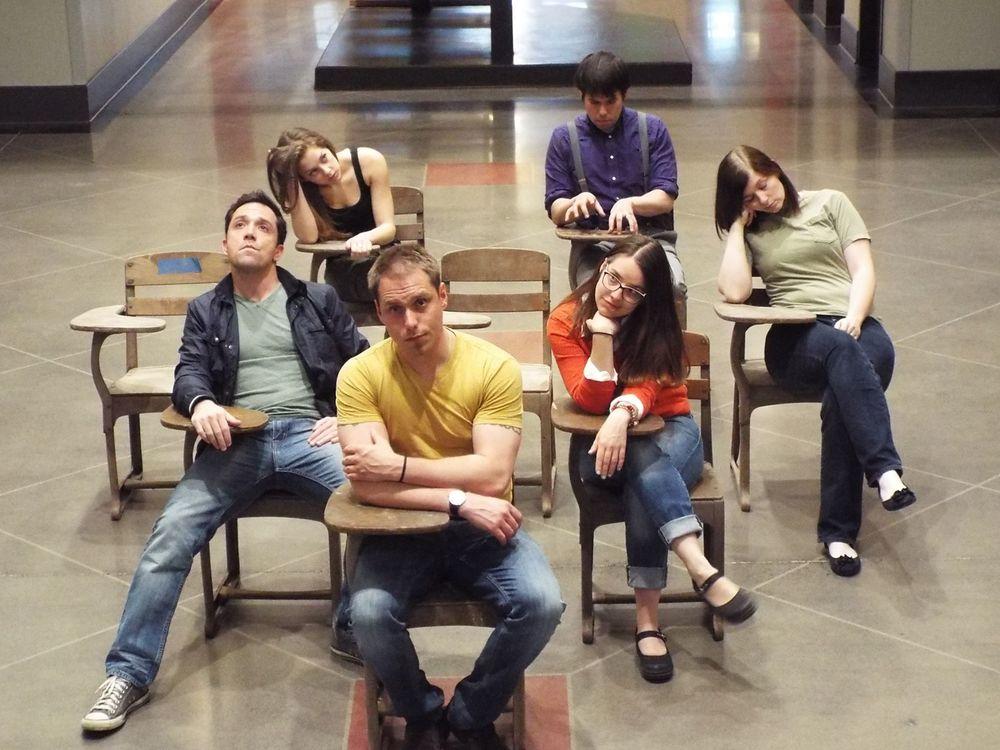 From left: Ian LaChance (Matt), Dana Goodknight (CB's Sister), Tom Templeton (CB), Rhiannon Antico. (Marcy), Ben Katagiri (Beethoven), and Casey Polomaine (Tricia)