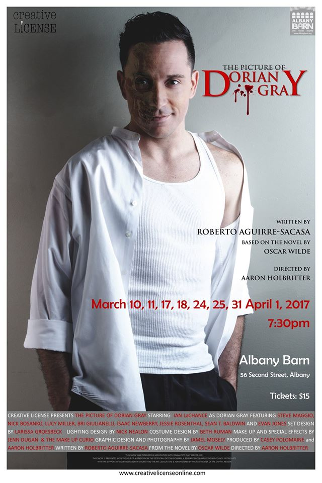 Written by Roberto Aguirre-Sacasa (based on the novel by Oscar Wilde) and directed by Aaron Holbritter, THE PICTURE OF DORIAN GRAY follows preternaturally handsome Dorian Gray, who has his portrait painted by his college classmate, the on-the-rise artist Basil Hallwood. When their mutual friend Henry Wotton offers to include it in a show, Dorian makes a fateful wish—that his portrait should grow old instead of him—and strikes an unspeakable bargain with the devil. So begins Dorian's steady decline into a life of depravity, following a twisted path that will lead him towards sexual deviance, violence, and much, much worse. (This show was presented with the help of a grant from the Decentralization Program, a regrant program of the NYS Council of the Arts with the support of Governor Andrew Cuomo and the NYS Legislature & administered by The Arts Center of the Capital Region)