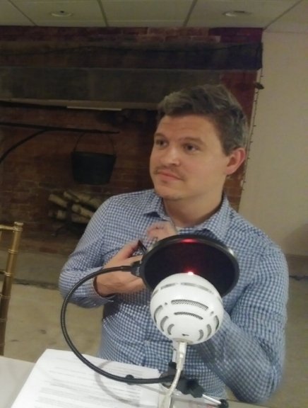 Matthew Hamm preparing to record his lines