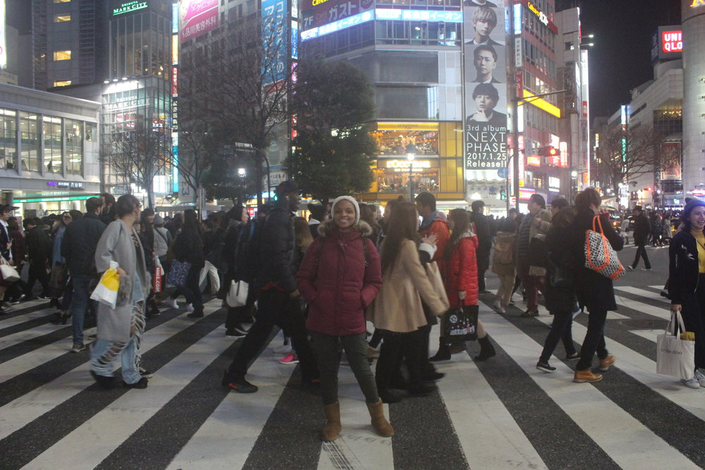 At the famous Shibuya Crossing