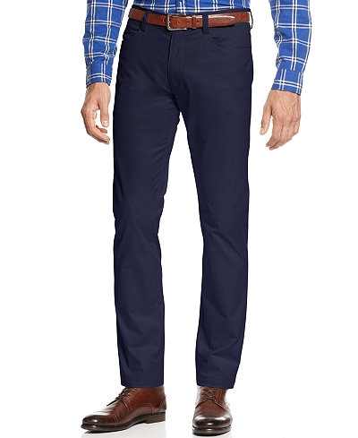 5-pocket navy chinos