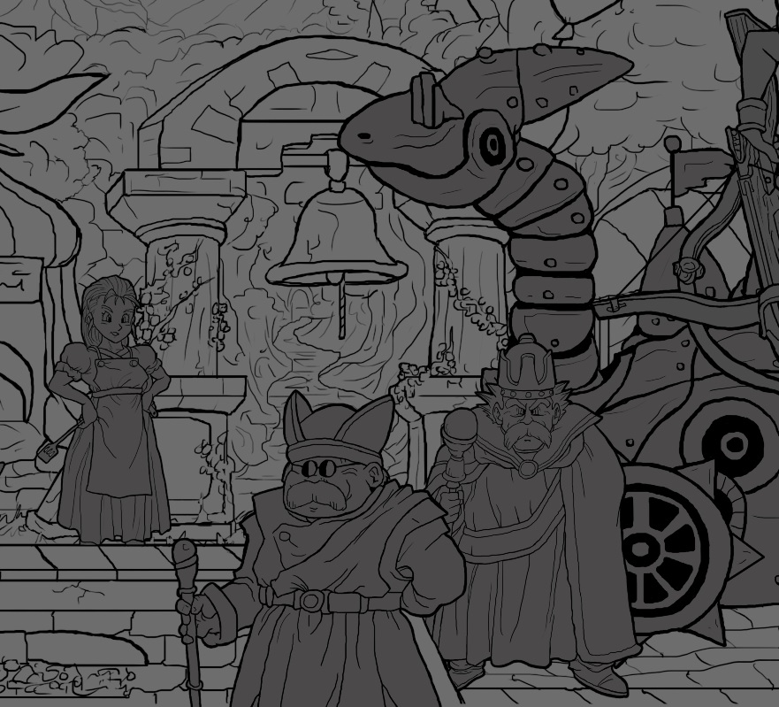 Sneak glimpse at my massive Chrono Trigger tribute illustration for the 20th anniversary of this legendary SNES game... even though i didn't get to play this game until the re-release in the UK, it has influenced me greatly.