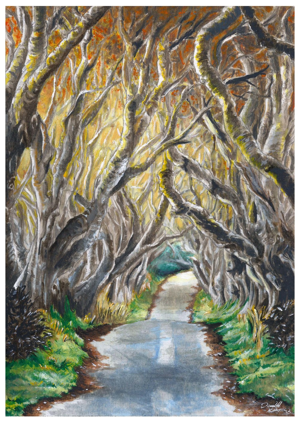 'The Interwoven Path' the very first watercolour painting on wooden panel; not without it's challenges, but definitely the start of a new series on this exciting media.