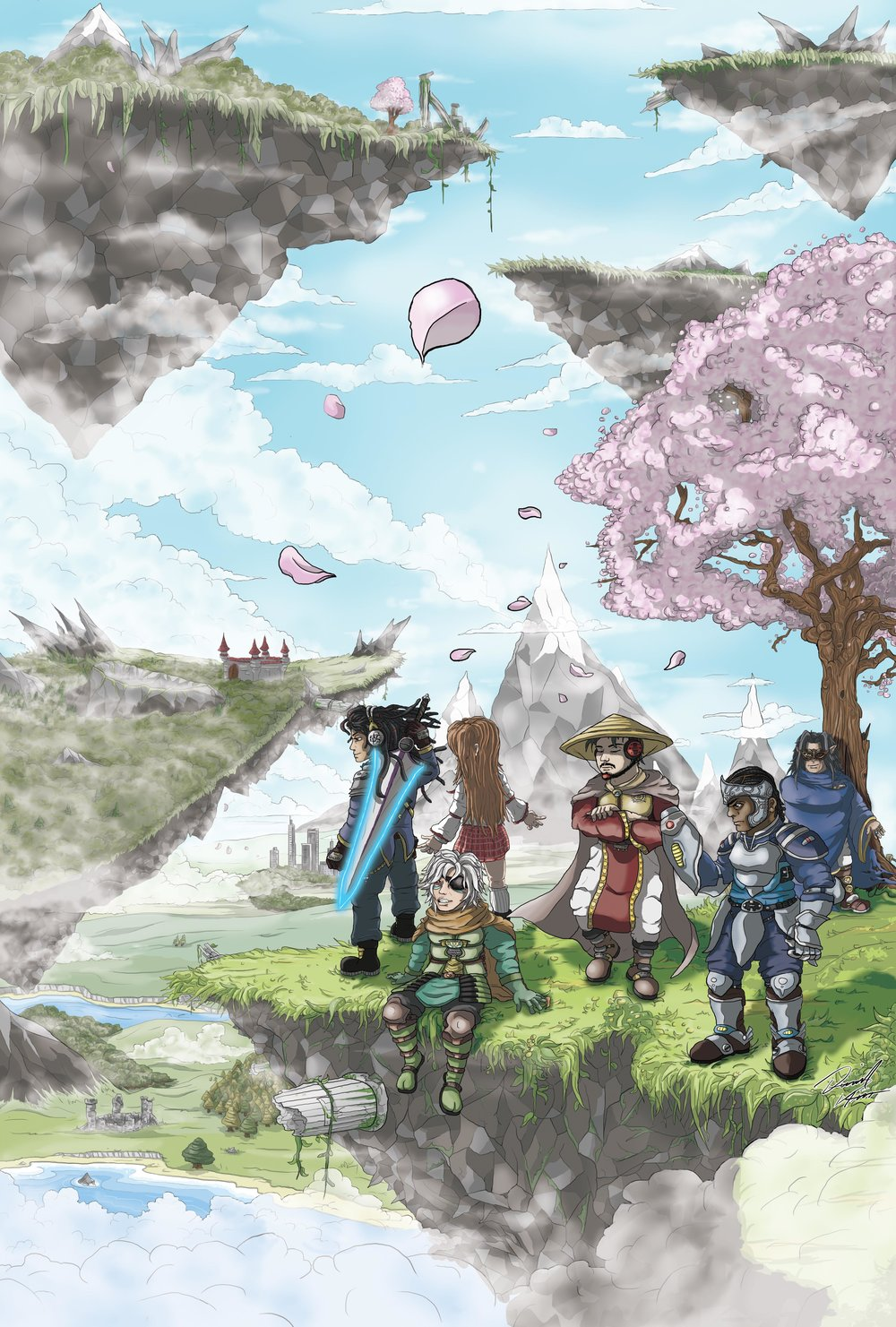 Tales of the Elements FC, by Last BeNeVoLeNcE  was an absolute dream project for me; Creating huge poster art of a huge jrpg inspired world and characters, for not just an album but a retro rpg video game, all in one awesome package.