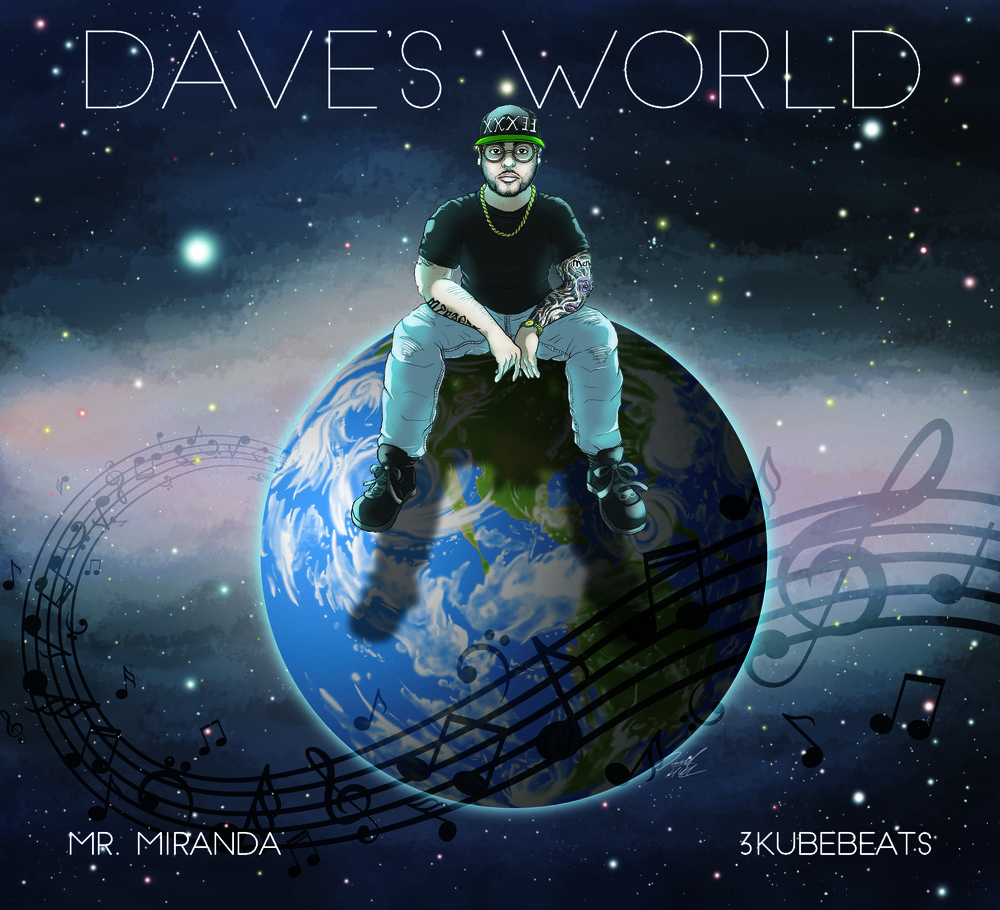 Dave's World by longtime client, MR. MIRANDA,  is an upcoming 2017 album that i had the pleasure of creating art for. I think it is actually one of my most polished covers to date, allowed me to push my experiments with realism (especially on that planet earth).