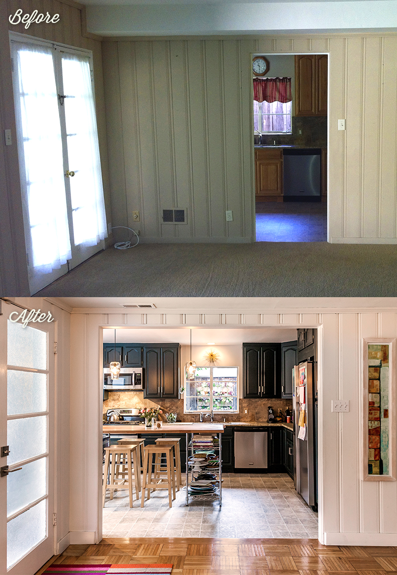 This was our Elm Street project, featuring a really bad three-season porch and a folding wooden pull door to separate it. The fridge was out on the porch! Imagine having to walk into another room each time you went to the fridge.
