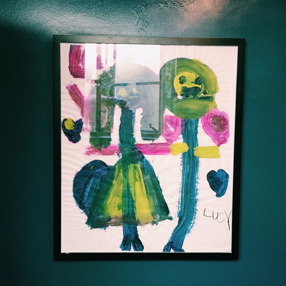This is my daughter, Lucy's, artwork. I frame the pieces that are extra special. This one really wanted to be in here.