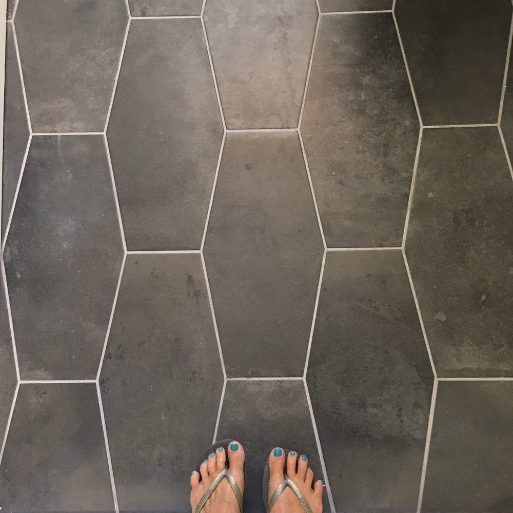 Can I just say that these tiles are (shhh) from Home Depot. I know, right? They are very inexpensive and have a great matte texture. Seriously good find.