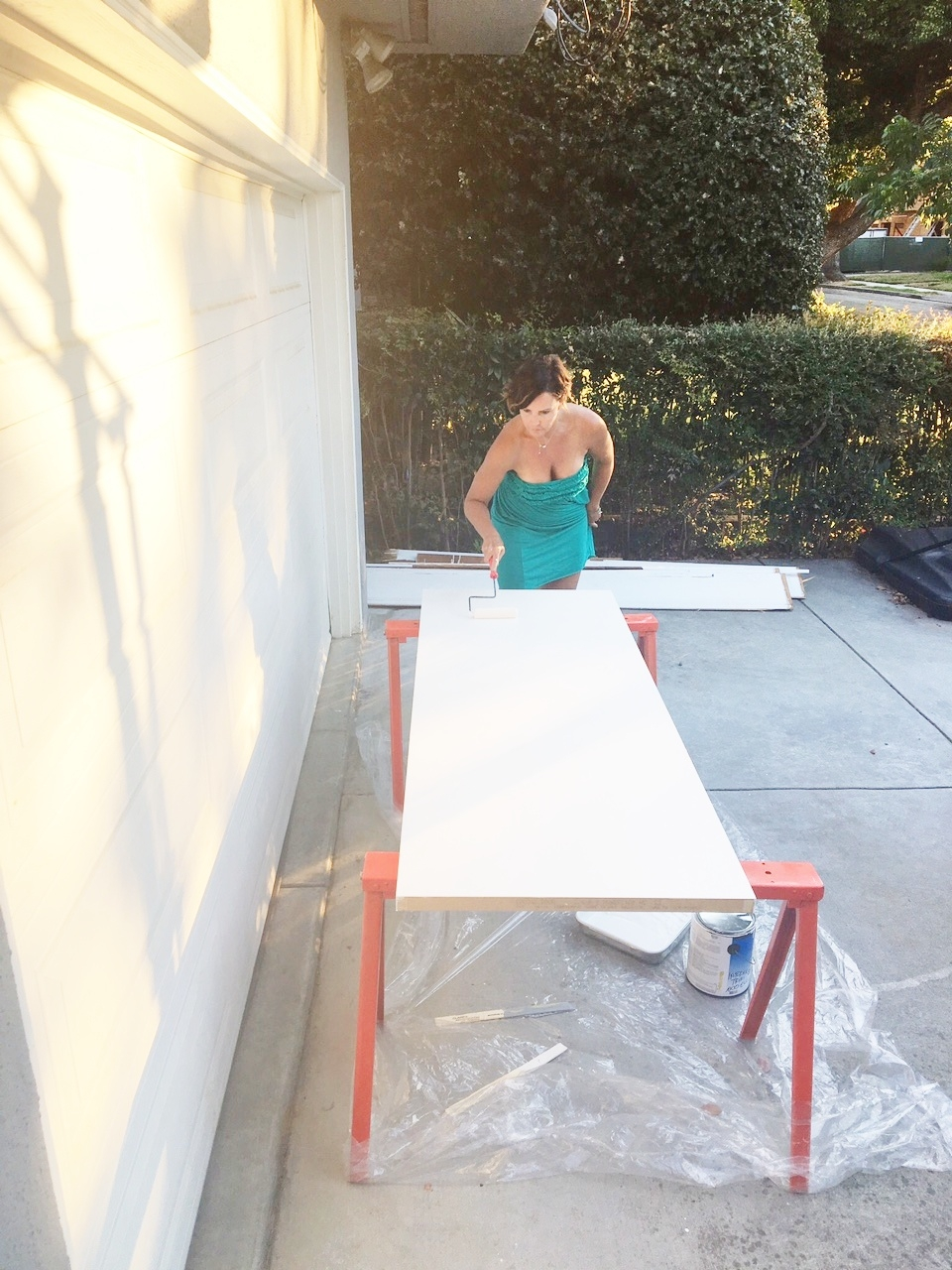 Excuse the outfit. I don't usually paint in strapless dresses but I was putting a final coat on as we were running out for dinner and Lance caught me.