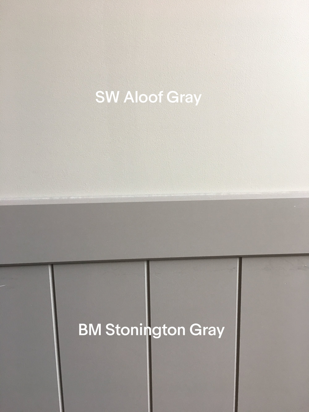 Sherwin Williams Aloof Gray and Benjamin Moore Stonington Gray