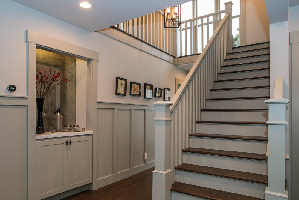 Walls: Sherwin Williams Aloof Gray, Wainscoting: BM Stonington Gray