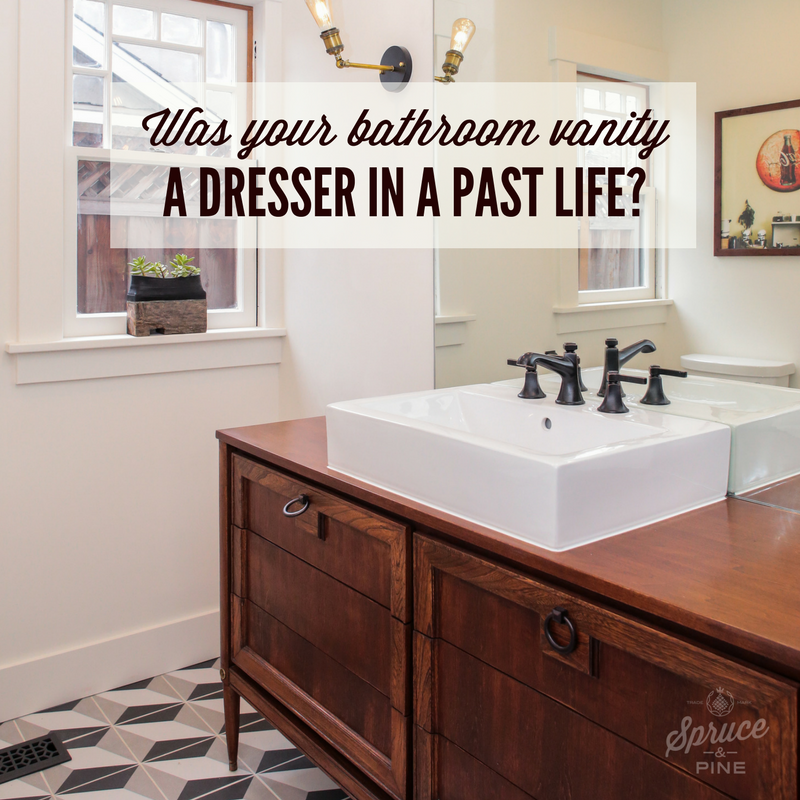 TURNING VINTAGE DRESSERS INTO BATHROOM VANITIES SEEMS TO BE ALL THE RAGE.