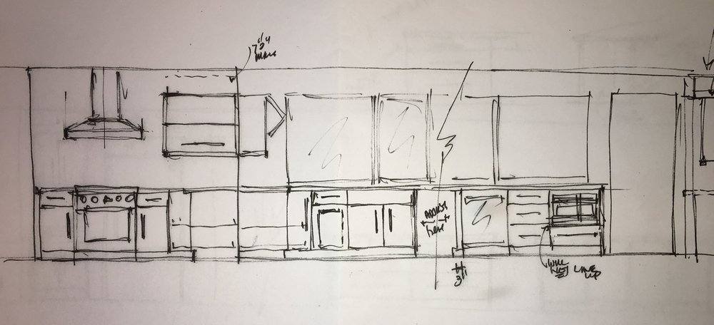 This is another elevation drawing. It is not one straight line. The wall with the stove turns a corner but its easier (and cooler) to view this way. As you can see, we have one upper cabinet to the left of the stove.
