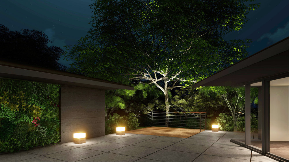 The courtyard and and backyard is such an amazing space. I wanted to capture it in the evening so we could illuminate the huge, soulful oak tree that is almost perfectly centered in the yard. I can't wait to light it up. And the green wall is going to be sensational.