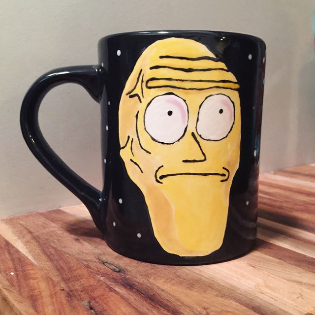 Look, I painted a mug! Where my Rick & Morty Fans at?!? #planetmusic #getschwifty #headbentover #raisetheposterior