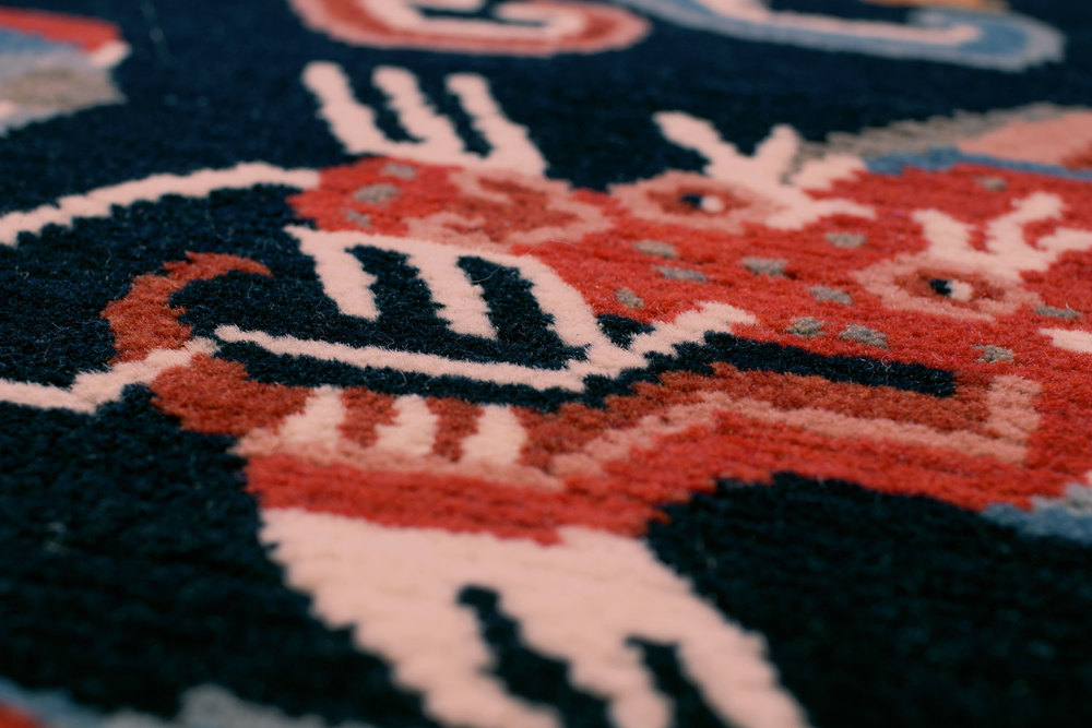 Detail of our 3' x 6' Dragon and Pheonix rug