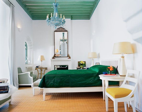 An interior shot of Yves Saint Laurent's Tangier home.