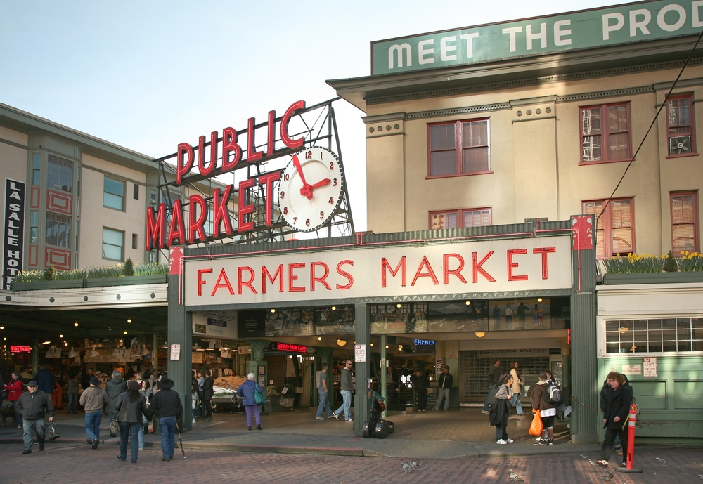 Facade of Pike Place Market, and Pike Place Fish Market